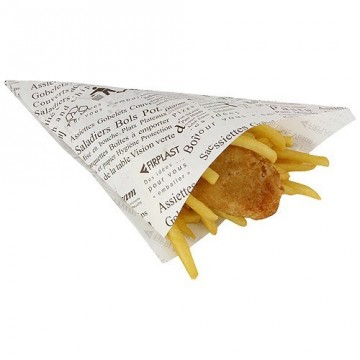 CONE PAPIER GM FISH § CHIPS PPT PAPIER JOURNAL 205X205X265 (X1500)