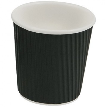 Gobelet noir en carton ondulé 10cl double parois