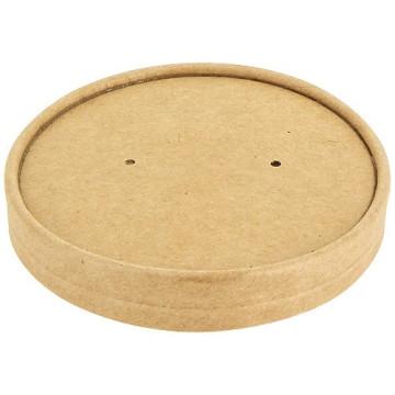 Couvercle kraft brun en carton pour pot à soupe 96 cl